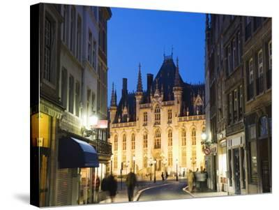 Neo-Gothic Post Office; Market Square Illuminated at Night, UNESCO World Heritage Site, Bruges-Christian Kober-Stretched Canvas Print