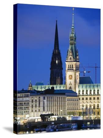 City Illuminated at Night on Lake Binnenalster, Hamburg, Germany, Europe-Christian Kober-Stretched Canvas Print