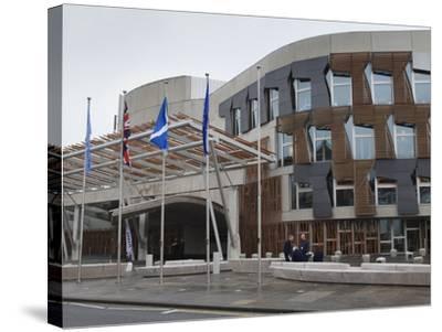 Scottish Parliament Building, Edinburgh, Scotland, Uk-Amanda Hall-Stretched Canvas Print