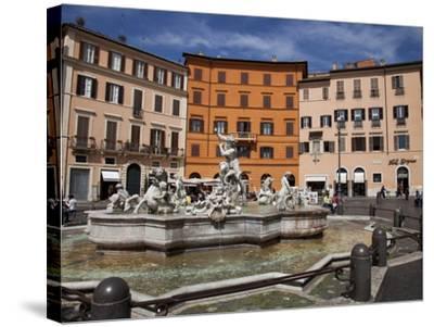 Neptune Fountain, Piazza Navona, Rome, Lazio, Italy, Europe-Carlo Morucchio-Stretched Canvas Print
