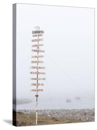 Destination Board, Spitzbergen, Bareninsel, Svalbard, Norway, Arctic, Scandinavia, Europe--Stretched Canvas Print