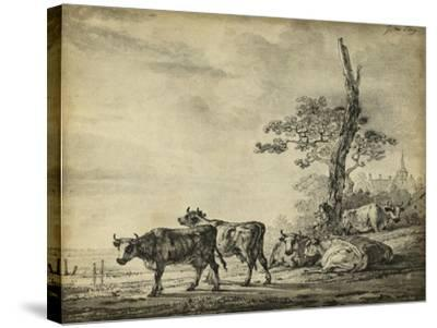 Pastoral Etching I--Stretched Canvas Print