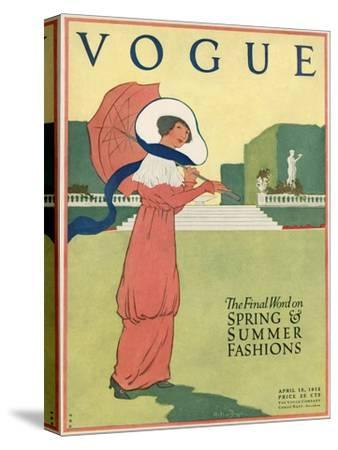 Vogue Cover - April 1912-Helen Dryden-Stretched Canvas Print
