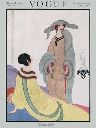 Vogue Cover - November 1919-Helen Dryden-Stretched Canvas Print