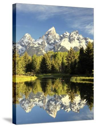 Reflections of Grand Teton Mountain in the Snake River-Robbie George-Stretched Canvas Print