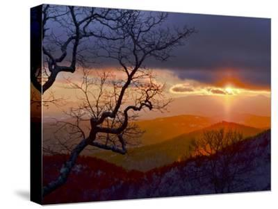 Sunset over the Blue Ridge Mountains-Amy & Al White & Petteway-Stretched Canvas Print