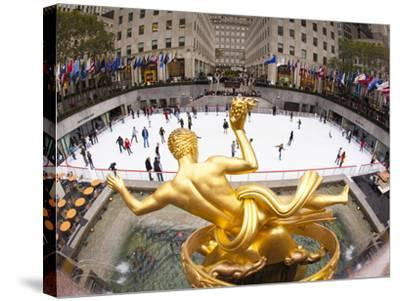 Ice Skating Rink Below the Rockefeller Centre Building on Fifth Avenue, New York City, New York, Un-Gavin Hellier-Stretched Canvas Print