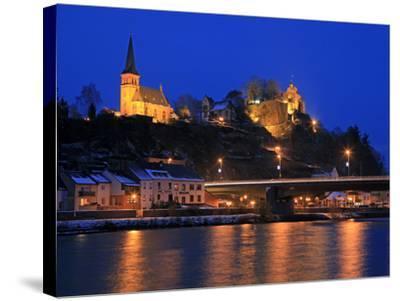 Od Town with Castle in Winter, Saarburg, Saar Valley, Rhineland-Palatinate, Germany, Europe-Hans Peter Merten-Stretched Canvas Print