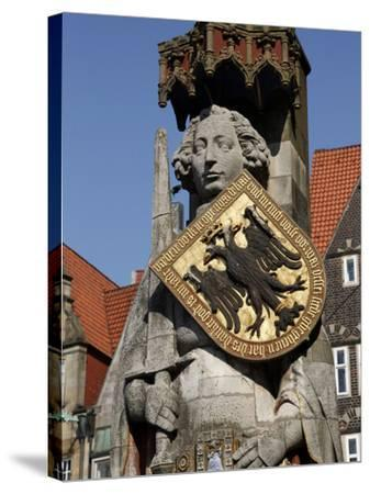 Statue of Roland, Market Square, UNESCO World Heritage Site, Bremen, Germany, Europe-Hans Peter Merten-Stretched Canvas Print