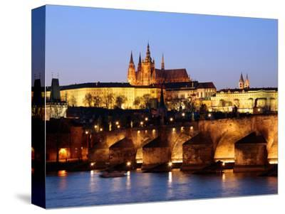 Prague Castle on the Skyline and the Charles Bridge over the River Vltava, UNESCO World Heritage Si-Hans Peter Merten-Stretched Canvas Print