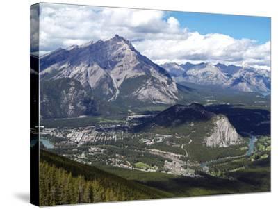 View from Sulphur Mountain to Banff, Banff National Park, UNESCO World Heritage Site, Alberta, Rock-Hans Peter Merten-Stretched Canvas Print