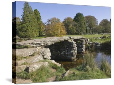 The Clapper Bridge at Postbridge, Dartmoor National Park, Devon, England, United Kingdom, Europe-James Emmerson-Stretched Canvas Print