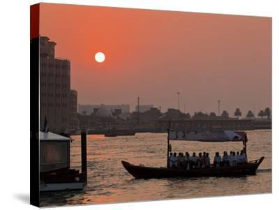 Abra Water Taxi, Dubai Creek at Sunset, Bur Dubai, Dubai, United Arab Emirates, Middle East-Neale Clark-Stretched Canvas Print