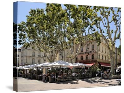Alfresco Restaurants, Place De L'Horloge, Avignon, Provence, France, Europe-Peter Richardson-Stretched Canvas Print