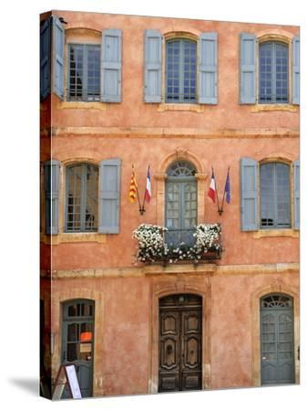 Mairie Office with Typical Ochre Coloured Walls, Roussillon, Parc Naturel Regional Du Luberon, Vauc-Peter Richardson-Stretched Canvas Print