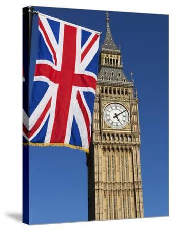 Big Ben with Union Flag, Westminster, UNESCO World Heritage Site, London, England, United Kingdom, -Stuart Black-Stretched Canvas Print