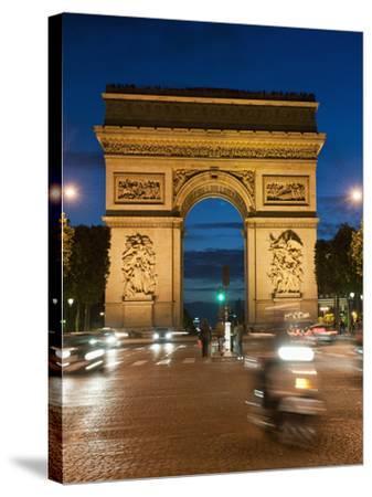 Traffic around Arc De Triomphe, Avenue Des Champs Elysees, Paris, France, Europe-Richard Nebesky-Stretched Canvas Print