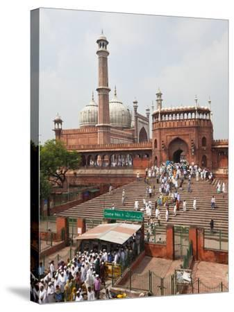 People Leaving the Jama Masjid (Friday Mosque) after the Friday Prayers, Old Delhi, Delhi, India, A-Gavin Hellier-Stretched Canvas Print