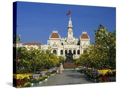 Hotel De Ville (Ho Chi Minh City Hall) Decorated for Chinese New Year, Ho Chi Minh City (Saigon), V-Stuart Black-Stretched Canvas Print