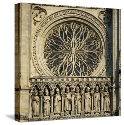 Detail of West Front, Notre Dame Cathedral, UNESCO World Heritage Site, Amiens, Picardy, France, Eu-Stuart Black-Stretched Canvas Print