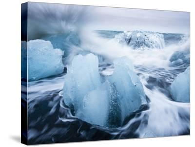 Icebergs from Vatnajokull Glacier, North Atlantic, Jokulsarlon, Skaftafell National Park, Iceland-Paul Souders-Stretched Canvas Print