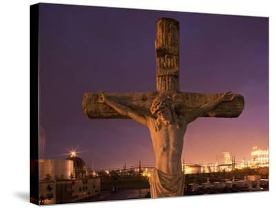 Statue, Jesus Christ in Holy Rosary Cemetery Near Petrochemical Plant, Baton Rouge, Louisiana, Usa-Paul Souders-Stretched Canvas Print