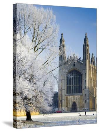UK, England, Cambridgeshire, Cambridge, the Backs, King's College Chapel in Winter-Alan Copson-Stretched Canvas Print