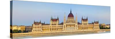 Hungarian Parliament Building and the River Danube Illuminated at Dusk, Budapest, Hungary-Doug Pearson-Stretched Canvas Print