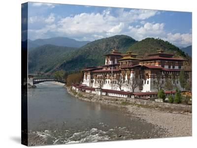The 17th Century Punakha Dzong (The Palace of Great Happiness), Second Oldest and Second Largest Dz-Nigel Pavitt-Stretched Canvas Print