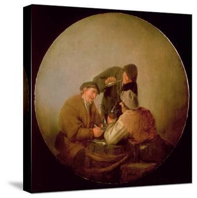 Three Peasants Drinking and Smoking in an Interior-Adriaen Jansz^ Van Ostade-Stretched Canvas Print