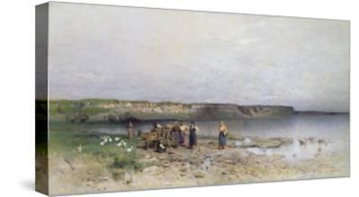 Lake Balaton with the Shore of Akarattya, 1885-Geza Meszoly-Stretched Canvas Print