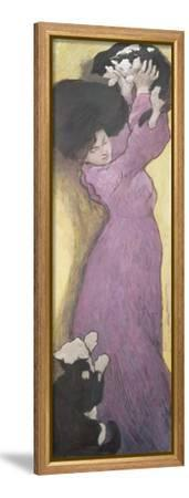 Woman with Cats (Pastel)-Janos Vaszary-Framed Stretched Canvas Print