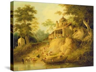 The Banks of the Ganges, c.1820-30-William Daniell-Stretched Canvas Print