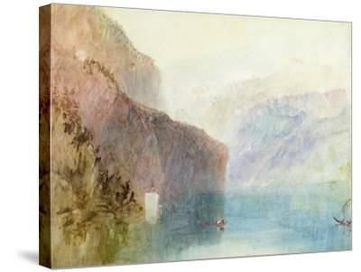 Tell's Chapel, Lake Lucerne, C.1841 (W/C with Pen on Paper)-J^ M^ W^ Turner-Stretched Canvas Print