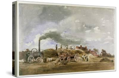 Threshing Corn (Pencil and W/C on Paper)-Peter De Wint-Stretched Canvas Print