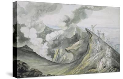 The Ascent of Vesuvius, 1785-91 (W/C over Graphite on Paper)-Henry Tresham-Stretched Canvas Print