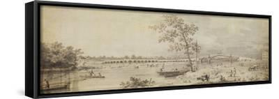 Old Walton Bridge Seen from the Middlesex Shore, 1755 (Pen and Ink with Wash on Paper)-Canaletto-Framed Stretched Canvas Print