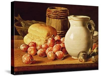 Still Life with Plums, Figs, Bread and Fish-Luis Egidio Melendez-Stretched Canvas Print