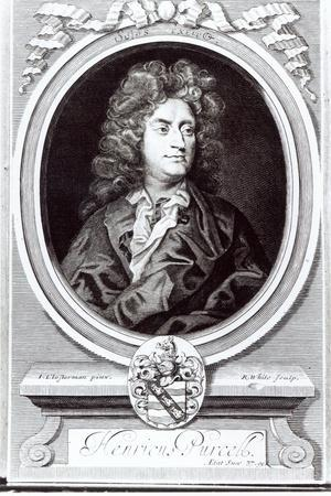 Portrait of Henry Purcell (1659-95), English Composer, Engraved by R. White, 1695 (Engraving)-Johann Closterman-Stretched Canvas Print