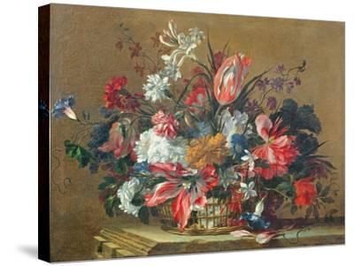 Basket of Flowers-Jean-Baptiste Monnoyer-Stretched Canvas Print