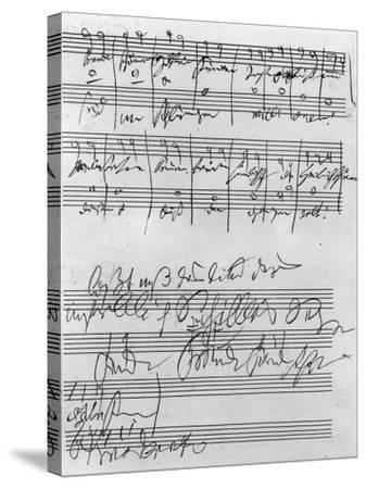 Handwritten Musical Score (Ink on Paper)-Ludwig Van Beethoven-Stretched Canvas Print
