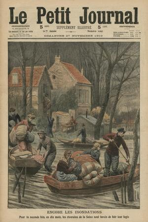 Floods Again, Illustration from 'Le Petit Journal', Supplement Illustre, 27th November 1910-French Photographer-Stretched Canvas Print