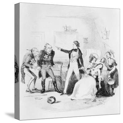 Nicholas Congratulates Arthur Gride on His Wedding Morning, Illustration from `Nicholas Nickleby'-Hablot Knight Browne-Stretched Canvas Print