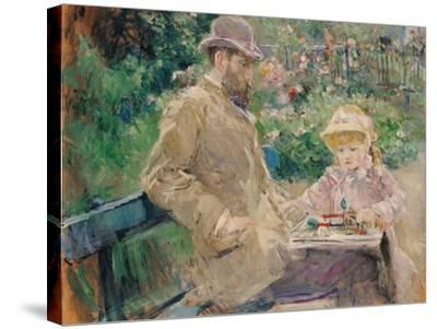 Eugene Manet (1833-92) with His Daughter at Bougival, C.1881-Berthe Morisot-Stretched Canvas Print