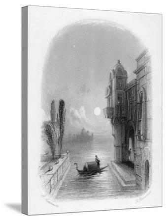 Moonlit Scene in Venice, Engraved by Robert Brandard, 1846 (Engraving)-George Cattermole-Stretched Canvas Print
