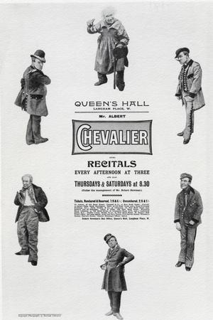Poster Advertising Albert Chevalier's Recital at the Queen's Hall (Engraving)-English-Stretched Canvas Print