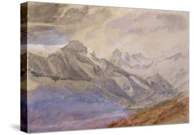 Mont Dauphiny, Near Chartreuse (W/C and Pencil on Paper)-John Ruskin-Stretched Canvas Print