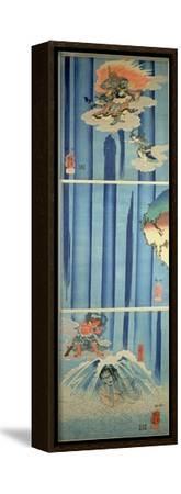 Mongaku Shonin under the Waterfall, C.1851 (Vertical Triptych)-Kuniyoshi Utagawa-Framed Stretched Canvas Print