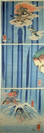 Mongaku Shonin under the Waterfall, C.1851 (Vertical Triptych)-Kuniyoshi Utagawa-Stretched Canvas Print
