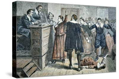 Witches of Salem - a Girl Bewitched at a Trial in 1692 (Colour Litho)-American-Stretched Canvas Print